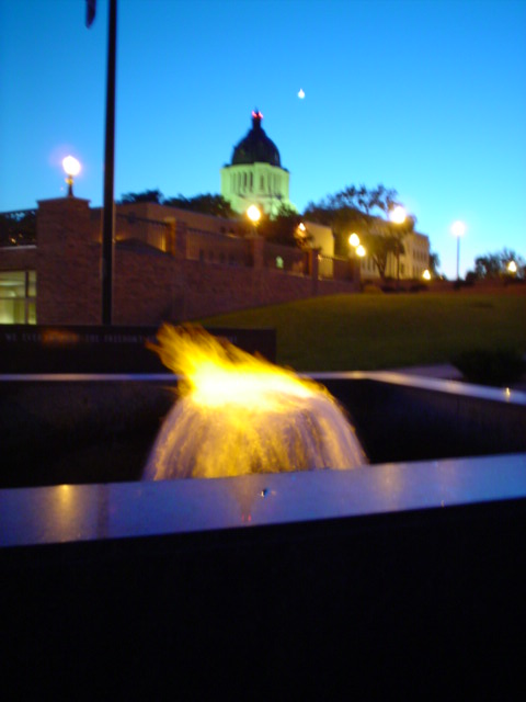 the flaming fountain in Pierre (capital building in background)