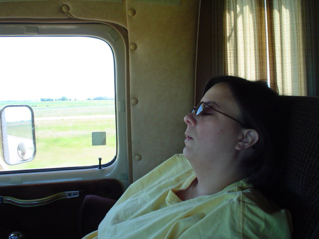 Laura snoozing somewhere in Alberta