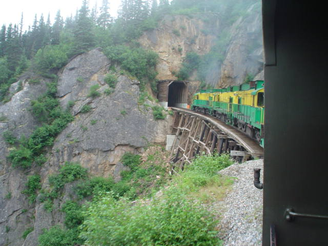 The railroad passes through 2 small tunnels on its way to White Pass.