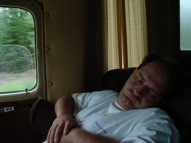 Joe sleeps in the car too!