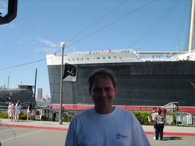 The Queen Mary is docked in Long Beach, CA