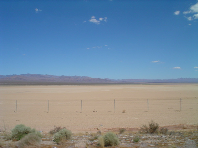 a dry lake near the Nevada state line