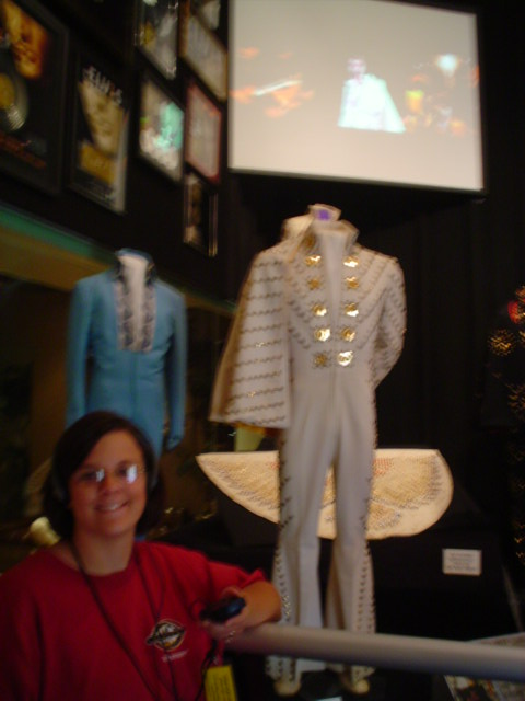 Laura admires the jumpsuits